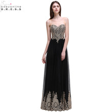 Robe de Soiree Longue Sexy Backless Beaded Lace Black Long Evening Dress 2017 Cheap Appliques Evening Gowns Vestido de Festa(China)