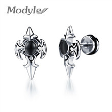 Modyle Personality Cross Design Man's Stud Earring Fashion Stainless Steel + Cubic Zirconia Men Jewelry Wholesale(China)