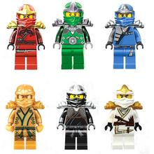 6Pcs/lot Ninja Kai Jay Zane Cole Lloyd Figures with weapons Building Blocks Toy for Children Compatible With Lepin bricks Doll