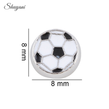 20pcs/lot New Sports Football Floating Locket Charms Metal Enamel Soccer Charms for Glass Memory Locket
