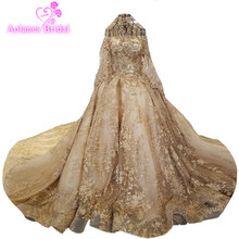 Buy 2018 Gold Lace Long Sleeves Cathedral Train Floor-length Bridal Gowns Lace Ball Gown Princess Backless Bride Wedding Dresses for $471.75 in AliExpress store