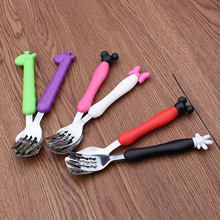 2Pcs/Set Stainless Steel Kids Fork Tableware Cartoon Cutlery Set Children Portable Camping Dinnerware(China)