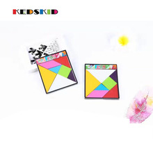 Children Mental Development Tangram Plastic Jigsaw Puzzle Educational Toys for Kids Free shipping