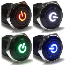 16mm Hole 12V LED Metallic Car Angle Eye Power Push Button Switch Latching Type Button Diameter 10mm Promotion Price