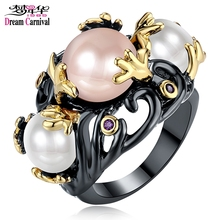 DreamCarnival 1989 Pink White Created Pearls Vintage Ring for Women Purple CZ Frauenringe Gothic Mujeres anillo Perla Wholesales(China)