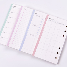 Creative 6 holes spiral notebook inner paper core, Cute daily/weekly/monthly planner refilling paper for organizer A5 A6.(China)