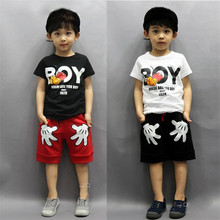 2017 Stylish Infant Toddler Baby Kids Boys Outfits Babies Boy Mouse Cotton Tops T-shirt + Short Pants Outfit Set Clothes