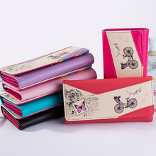 Long Women PU Leather Wallet Bicycle Butterfly Print Purse Women Press Stud Cute Coin Bill Bag Card Holder Wallet