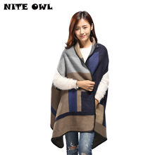 Women Winter Pashmina Fashion Shawls Plaid Cashmere Woman Sleeveless With Hole Poncho Scarf Oversized Blanket Wrap RO16010