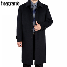 HEE GRAND Men's Wool Coats Spring Woolen Coat Men Single Breasted Wool Coats Overcoat Large Size England Style MWN228