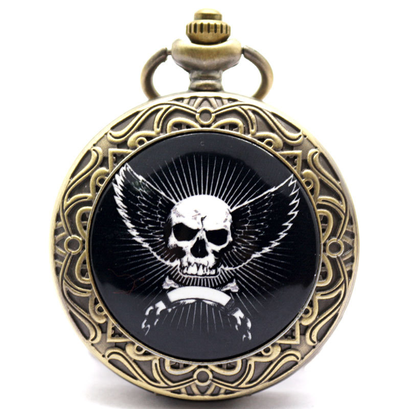 Skeleton Head Angel Wings Pattern Antique Retro Bronze Vintage Pocket Watch Necklace Pendant Gift P386<br><br>Aliexpress