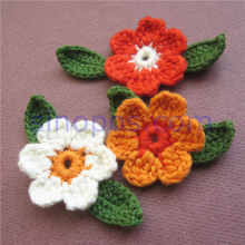 Handmade Crochet Flowers Leaves, quilting scrapbooking DIY 3D craft cotton fabric applique decorative knitting sew-on patchwork