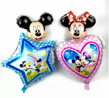 New Big pink blue star mickey minnie heart balloon Large minnie mickey aluminium foil ballons for birthday wedding decoration