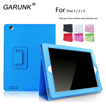 Case for iPad 2 3 4, GARUNK Litchi Flip Protective Solid PU Leather Stand Tablet Cover Holster for Apple iPad 2 iPad 3 iPad 4(China)