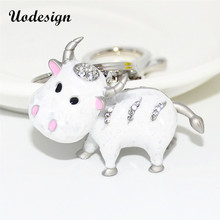 Uodesign Original Charm 3D Cow Keychain Colorful Cute Key Chain Cow Women Bag Hang Car Pendant Keyring trinket Gift(China)