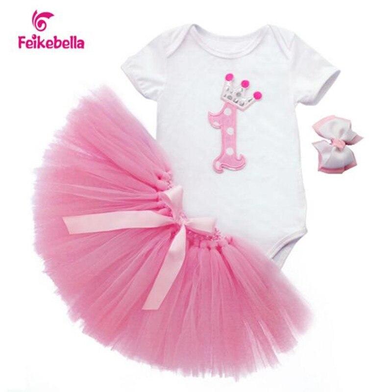 Newborn Baby Birthday Dresses 2017 Baby Christmas Outfit Bodysuit + Skirt + Headband Toddler Girls Clothing vestido de bautizo<br><br>Aliexpress