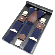 New Arrival Casual Leather Y-Back Navy Blue Elastic Suspender Men's strap trousers 3 Clips Wedding Braces 3.5cm*120cm GBD9408(China)