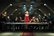 Blondes women battlestar galactica tricia helfer the last supper cloth silk art wall poster and prints