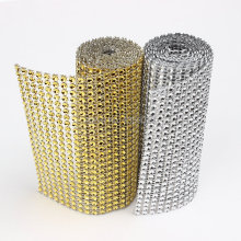 "Free Shipping Wedding Decoration 4.75""x 1 Yard Silver/ Gold DIAMOND MESH Christmas RHINESTONE Crystal Ribbon DIY Cake Decoration(China)"