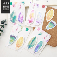 Y56 Fresh Colorful Feather Memo Pads Sticky Notes Stick Paper Message Sticker Bookmark Marker of Page Stationery School Supply