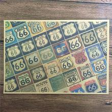 "New arrival DC-032 Vintage kraft paper ""ROUTE 66 show"" for kichen wall sticker movie poster bar cafe wall painting 42x30 cm(China)"