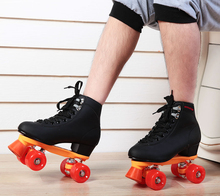 PU double skate roller shoes roller skates adult Breathable figure skating roller sepcial brake and easy balance 5-10 size
