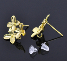 MJARTORIA 10PCs/5Pair Gold Color Flower Earring Post W/Stopper 15x14mm Earring Back For Fashion Women Jewelry DIY Accessories