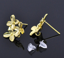 MJARTORIA 10PCs/5Pair Gold Color Flower Earring Post W/Stopper 15x14mm Earring Back For Fashion Women Jewelry DIY Accessories(China)