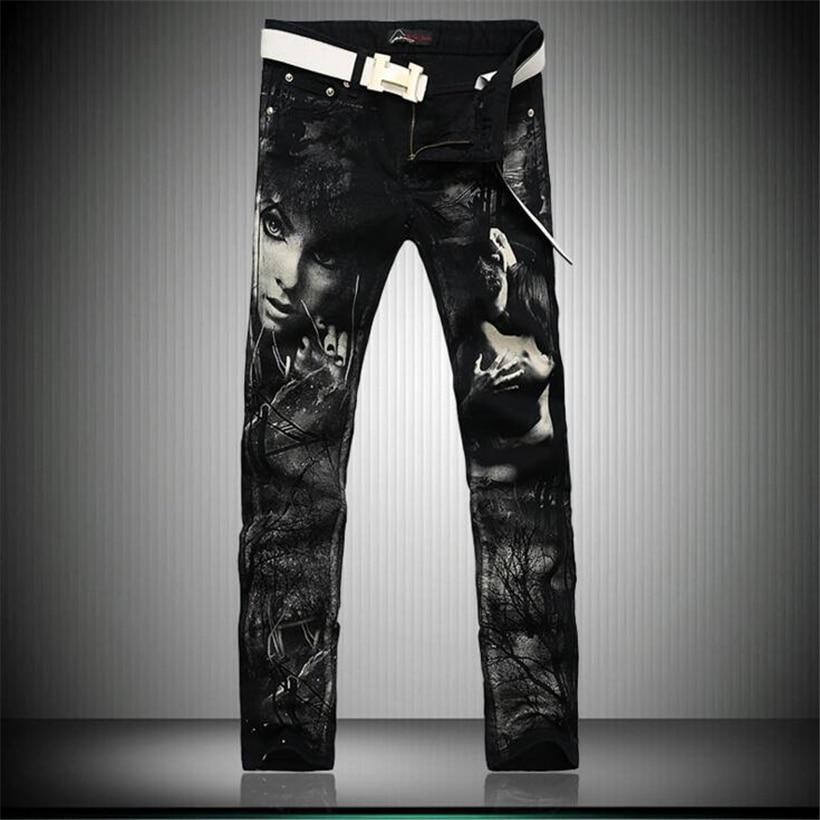 2017 new arrived black jeans men slim winter jeans hip hop jean skinny Characters printed biker jeans homme pantalones hombreÎäåæäà è àêñåññóàðû<br><br>