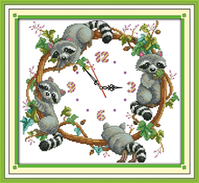 Innovation items needlework kit DIY home decoration counted cross stitch kit clock embroidery set - The cute little raccoons (2)