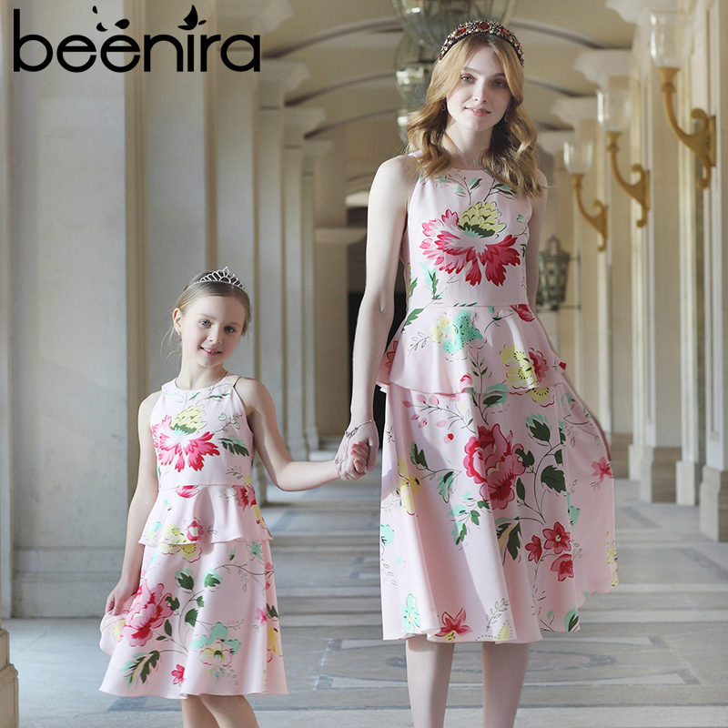 Beenira 2017 Pink Family Matching Outfits Elegant Mother Or Daughter Dress Sleeveless Summer Party Dress Foral Print Fashion<br>