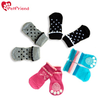 4pcs Dog Socks Puppy Small Dog Shoes Cute Cartoon Warm Soft Cotton Knits Sock  for Hardwood Floor Indoor Wear Paw Protection