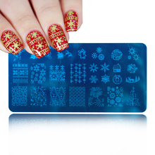 Nail Salon 1pcs Christmas Stamping Plate Xmas Snowflake Nail Art Stamp Template Image Stamp Plate 12x6cm SAXY-J28