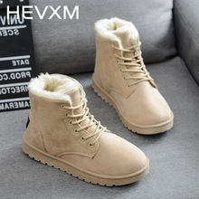 HEVXM New Arrivals Women Boots Snow Warm Winter Boots Botas Lace Up Mujer Fur Ankle Boots Ladies Winter Plus Cotton Shoes Black