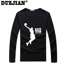 DUZJIAN Cavalier LeBron James Men's cotton Long Sleeve T-shirt bodybuilding maillot de basket camisa masculina cheap jerseys