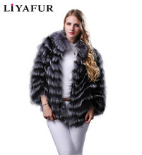 LIYAFUR 2017 New Style Real Genuine Natural Silver Fox  Fur Bat Slleve Jacket Coat for Women with Collar Fashion Slim
