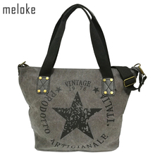 Meloke 2017 BIG STAR PRINTING VINTAGE CANVAS SHOULDER BAGS Women Travel Tote Factory Outlet Plus Size Multifunctional Bolsos(China)