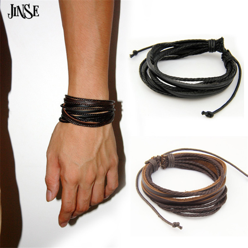 JINSE Hot Hand-Woven Fashion Men Jewelry Leather Braided Rope Wristband Wrap Multilayer Leather Bracelets & Bangles Women