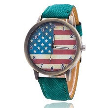 New unique Design Women Watch American Flag Pattern Leather Band Analog Quartz Vogue Wrist Watches Casual Watches Female 2017(China)
