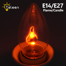 TSLEEN 4x Simulation Flame Fire E14 LED Candle C35 Bulb Retro Edison Style Tail Chandelier Lights E27 Creative Light Orange Red(China)