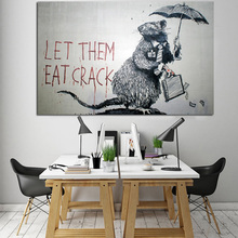 Banksy Art Graffiti HD Print Mouse Steal Money Abstract Wall Pictures LET THEM EAT CRACK Canvas Painting For Living Room cuadro