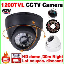 "Countdown Sale!1/4""CMOS 1200TVL Indoor Dome HD Mini Camera 24led IRCut Security Surveillance Night Vision 30m Home Video vidicon(China)"