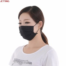 JETTING 10pcs Non Woven Black Disposable Face Mask 4 Layer Medical dental Earloop Activated Carbon Anti Dust Face Surgical Masks(China)