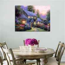 Custom Wholesale Is Welcome Thomas Kinkade Oil Painting Reproduction Pastoral Landscape Print on Canvas Wall Art Home Decor