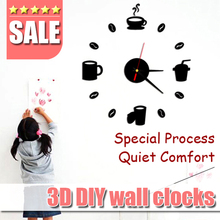 Coffee Cups Kitchen wall art 3d diy wall clocks mirror clock modern design watches home decoration DIY decor sticker living room
