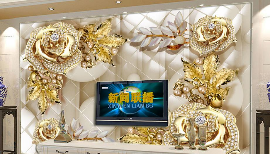 Luxury giant wall wallpapers for living room 3d wall murals Gold jewelry flowers TV backdrop decorative wallpaper wallcovering <br>
