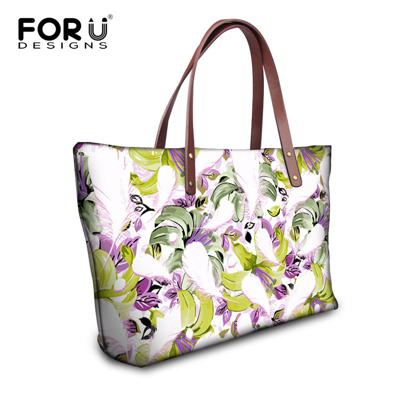 FORUDESIGNS Floral Style Women Luxury Handbags Casual Large Flower Printing Womens Shoulder Bag Top-handle Bags High Quality <br><br>Aliexpress