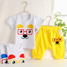 10sets high quality cotton Kids Clothing Sets muliticolor cartoon T-shirt +harem middle pants babys Clothes Baby boys girls set