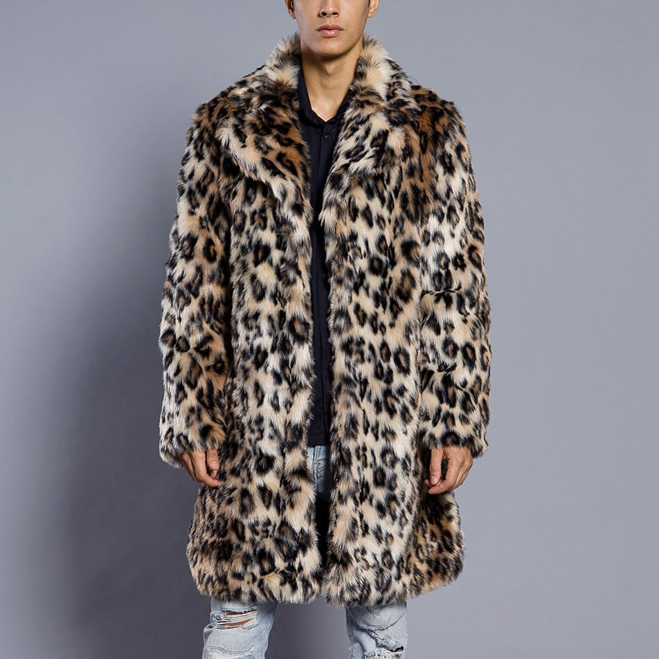 Mens Leopard Fur Coat Winter Outwear Thick Coat Men Casual Parka Jackets Long Leather Warm Overcoats Genuine Fur Brand Clothing
