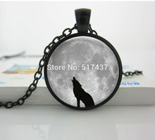 HZ--A558 Glass Tile Necklace Wolf Necklace Jewelry Black Necklace Glass Pendant Black Jewelry ,Stark Wolf Necklace HZ1